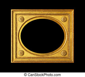 Oval empty wooden frame