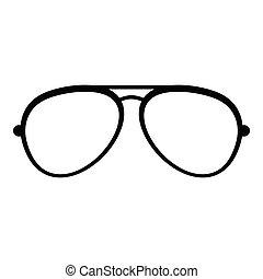 Oval eyeglasses icon, simple style.