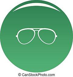 Oval eyeglasses icon vector green