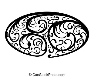 Oval Flora Element - black and white illustration of an oval...