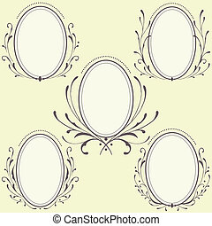 oval, floral, ornamento, marcos