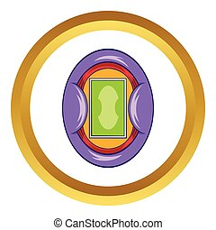 Oval football stadium vector icon