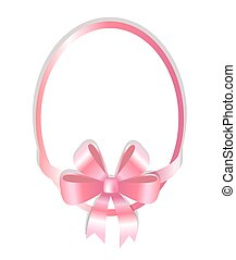 Oval Frame Decorated Pink Bow Vector Illustration