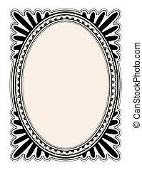 elegant oval frame with decorative filigree; illustration