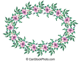 Oval frame from flowers