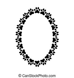 Oval frame made of paw prints.