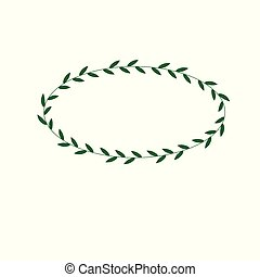 oval frame of a green plant on white background