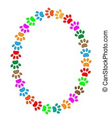 Oval frame of colorful paw prints animal with blank space ...