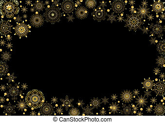 Oval frame of gold beautiful stars
