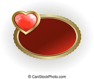 Oval frame of gold color with a red heart