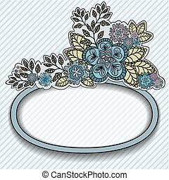 Oval frame with blue flowers
