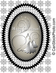 Oval frame with Christmas tree