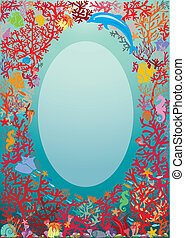 Oval frame with Coral Reef and Marine life - Underwater background.