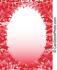 Oval frame with floral elements in pink hues