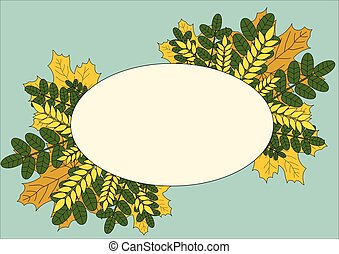 oval frame with leaves and ears on a light background