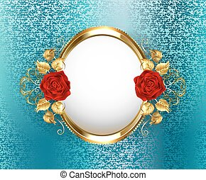 Oval frame with roses
