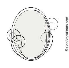 Oval frame with spirals and lines