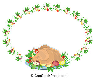 Oval frame with turkey, vector