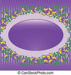 Oval frame with violets