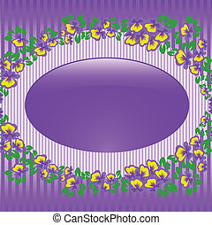 Oval frame with violets