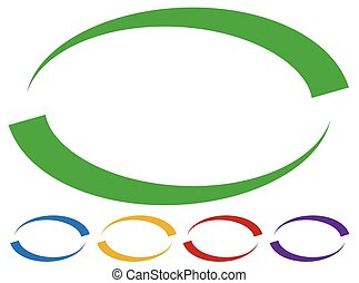Oval frames - borders in five colors. Colorful design...