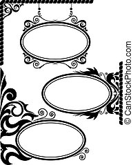 Oval frames - set of three black silhouettes of oval frames