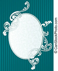 Oval French retro frame in green