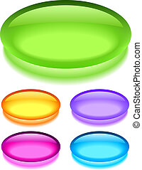 Oval glass buttons, vector illustration