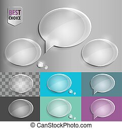 Oval glass speech bubble icons with soft shadow on gradient background . Vector illustration EPS 10 for web.