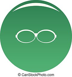 Oval glasses icon vector green