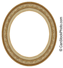 oval, gold, bilderrahmen