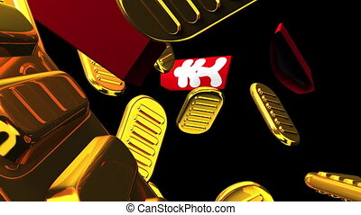 Oval gold coins and bags on black background