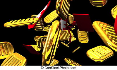 Oval gold coins and bags on black background. Loop able 3D render Animation.