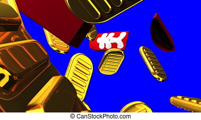 Oval gold coins and bags on blue chroma key. 3DCG render...