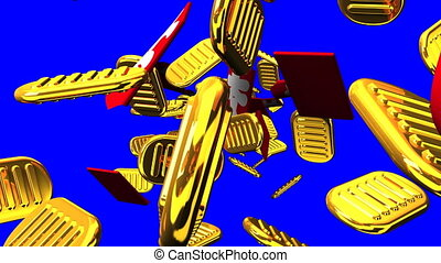 Oval gold coins and bags on blue chroma key. Loop able 3DCG...