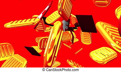 Oval gold coins and bags on red background. Loop able 3DCG render animation.
