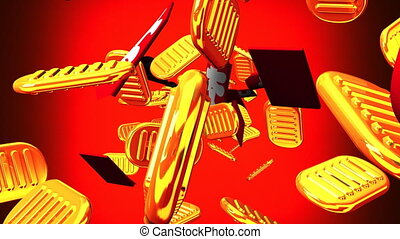 Oval gold coins and bags on red background