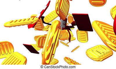 Oval gold coins and bags on white background. Loop able 3D...