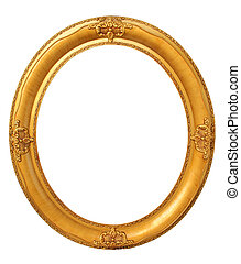 Oval gold frame clipping path