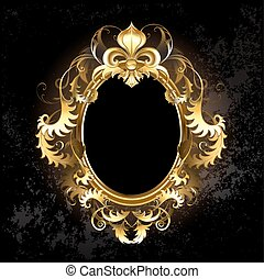 oval jewelry banner framed golden ornament, with a gold Fleur de Lis on a dark background.