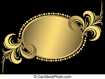 Oval golden frame with vintage curls and an ornament on black (vector)