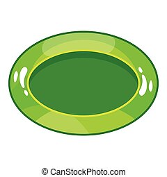 Oval green button icon, cartoon style