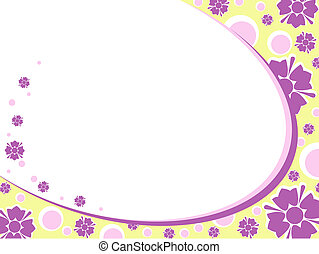 Oval green retro floral background