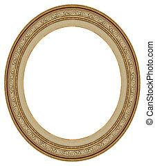 oval, guld, föreställa inramar