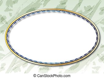 oval, gylden, ramme