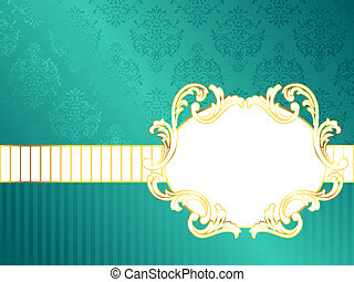 Oval horizontal vintage rococo label - Elegant turquoise...