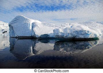 oval iceberg with reflection
