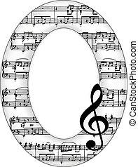 oval, imagen, notas, música, marco