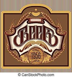 oval, inscripción, cerveza, ornamento, etiqueta