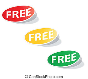 Oval labels with the inscription FREE. Vector.